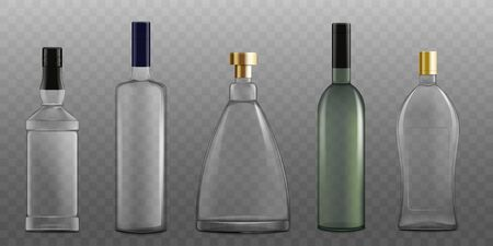 Set of alcohol glass bottles various shapes 3d photorealistic vector mockup illustration isolated on transparent background. Alcoholic drinks packaging template.