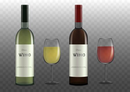 Set of wine bottles and glasses realistic vector illustration mockup isolated on transparent background. Alcohol bottles template for brand identity and restaurant menu.