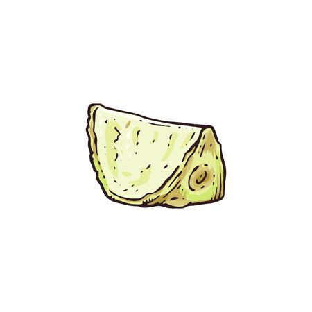 Celery root piece drawing in hand drawn sketch style isolated on white background - cut up slice of yellow vegetable for food garnish or topping. Flat vector illustration. 向量圖像