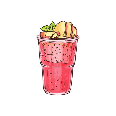 Bubble tea or summer ice cocktail with fruit toppings in glass, sketch vector illustration isolated on white background. Smoothie or milkshake for menu and invitations.