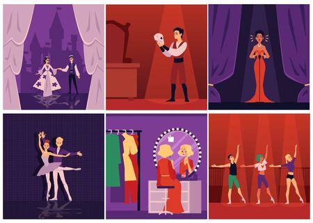 Dramatic theater actors, singers and ballet dancers on stage and preparing to performance, set of flat vector illustrations. People cartoon characters in scene costumes.
