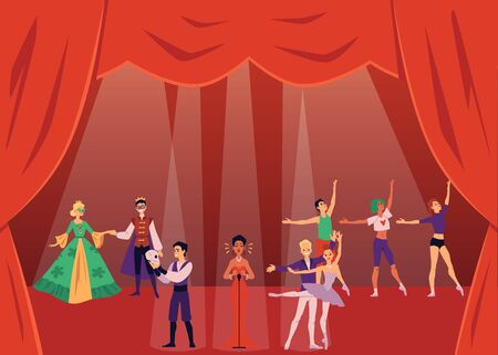 Theater actors or show artists on classic stage with red curtains flat vector illustration. People cartoon characters dancing, singing and performing in scene costumes. Ilustração
