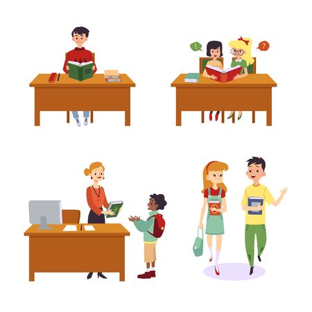 Set of different scenes with children in library flat cartoon illustration isolated on white background. Cute kids reading book and getting them from librarian. Vector Illustration