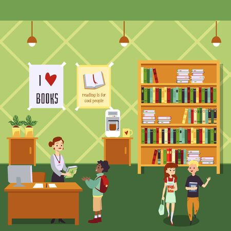 Kid library interior with cartoon children holding books and female librarian at check out desk giving a book to little boy. Green school education room - flat vector illustration