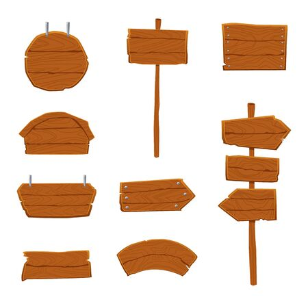 Wooden road signs and pointing arrows set, vector illustration in cartoon style isolated on white background. Empty advertising made of wood planks signs or sign boards.