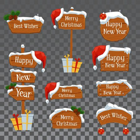 Wooden billboards and road arrows with Christmas and New Year inscriptions, Santa hat and snow - set of cartoon vector illustrations isolated on transparent background.
