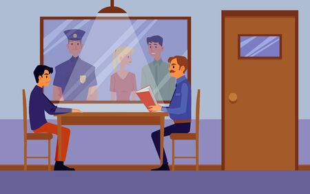 Police interrogation room interior with cartoon policeman questioning criminal suspect behind table and people looking from one way mirror window. Flat vector illustration Stock Illustratie