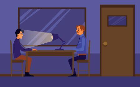 Interrogation of guilty or suspected man in police station, flat cartoon vector illustration in investigation room interior. Policeman, detective or officer job.