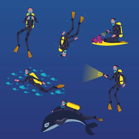 Diver in mask cartoon characters set swimming underwater, flat vector illustration isolated on blue background. Tourism and summer vacation, extreme sports activity. Ilustração