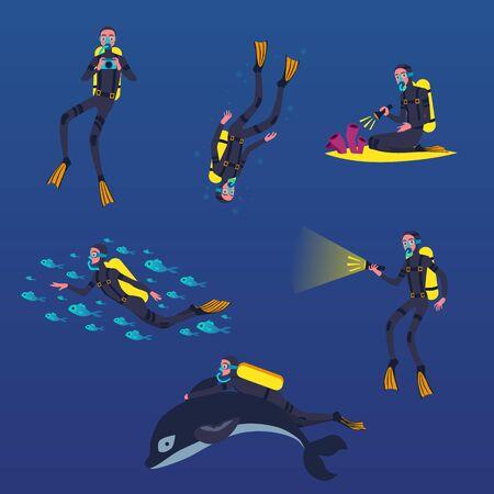 Taucher in maskenzeichentrickfilm-figuren, die unter wasser schwimmen, flache vektorillustration lokalisiert auf blauem hintergrund. Tourismus und Sommerurlaub, Extremsport. Vektorgrafik