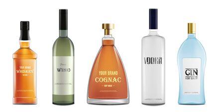Zestaw różnych napojów alkoholowych butelek 3d realistyczne wektor makieta ilustracja na białym tle. Szablon butelek wina i wódki, whisky i koniaku.