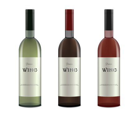 Set of white, rose and red wine bottles with blank labels realistic vector illustration mockup isolated on white background. Alcohol bottles template for brand identity.