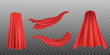 Set of red superhero cloaks or flowing silk fabrics, realistic vector illustration isolated on transparent background. Carnival clothes, decorative costume element.