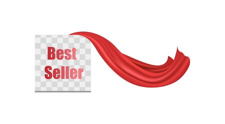 Best seller - transparent square icon template with red superhero cloak blowing in the wind. Realistic scarlet cape revealing bestselling item. Isolated vector illustration