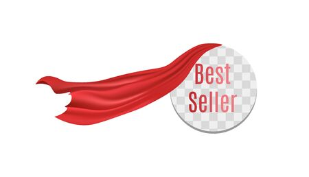 Round Best seller sticker with red silk curtain flowing off - transparent frame template for bestselling item reveal with dramatic scarlet fabric. Isolated vector illustration