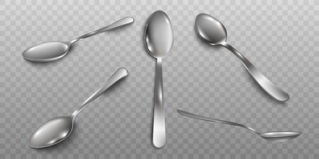 Set of different angles of metal silver tone spoons realistic vector illustration isolated on transparent background. Kitchen utensils element - teaspoons or tablespoons. Illusztráció