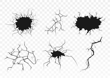 Czarny zestaw pęknięć powierzchniowych z otworami i teksturą złamanej ziemi na przezroczystym tle. Pęknięty efekt zniszczenia ściany - płaska ilustracja wektorowa Ilustracje wektorowe