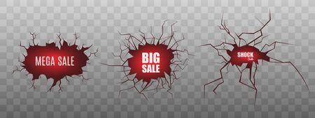 Set of Big Sale banners or labels on cracked red damaged surface fracture for promotion and advertising, realistic vector illustration isolated on transparent background. Banque d'images - 133493686