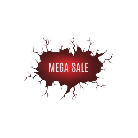 Mega sale label or banner as cracked after earthquake ground with fractures and fire lava, realistic vector illustration isolated on background. Discount or sales promo.
