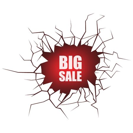 Big sale - ground breaking price drop metaphor with words coming out of giant cracked hole isolated on white background. Surface crack with text - vector illustration