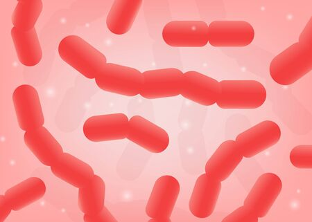 Probiotics or prebiotics bacterias of intestinal healthy microflora banner realistic vector illustration background. Colonic microorganisms image for medical supplements. Illustration