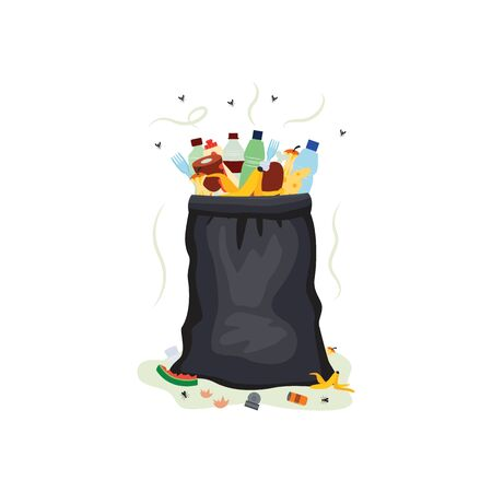 Black plastic trash bag full of dirty garbage - isolated rubbish bag filled with bottles, cans and smelly food waste. Vector illustration on white background.