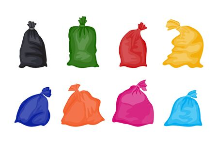 Set of colorful trash bags full of garbage isolated on white background. Clean plastic bag collection in red, black, green, yellow and other colors - flat vector illustration