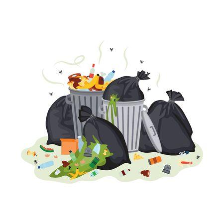 Mucchio di immondizia: sacchi della spazzatura neri e bidoni di metallo pieni di disgustosi rifiuti alimentari puzzolenti verdi, bottiglie di plastica e lattine. Inquinamento della città - illustrazione vettoriale piatto isolato