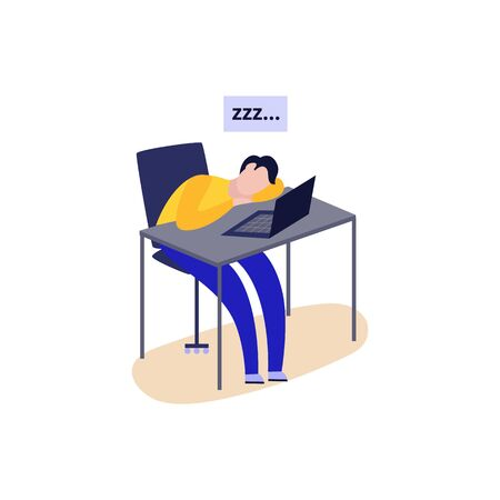 Cartoon tired man sleeping at desk by open laptop - exhausted student or office worker taking a nap with sleep snoring symbol. Isolated flat vector illustration.  イラスト・ベクター素材