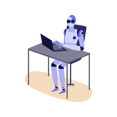 Humanoid robot working on laptop - purple cyborg sitting behind office desk and typing into computer isolated on white background. Work automation - flat vector illustration.