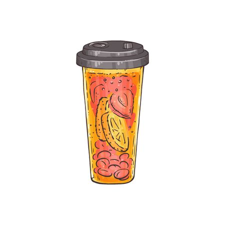 Lemon and peach cocktail drink in closed takeout plastic cup - slices of citrus fruit in iced tea beverage - isolated flat hand drawn vector illustration. Illusztráció