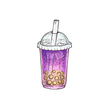 Purple bubble tea with yellow pearls in plastic cup with a straw - sweet ice drink hand drawn in sketch style. Modern trendy Asian drink - vector illustration.