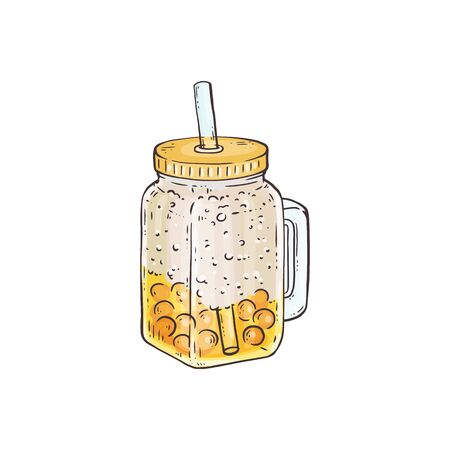 Yellow bubble tea with crushed ice in glass jar - hand drawn summer beverage with pearl balls on bottom. Cold lemon drink with straw - isolated vector illustration.