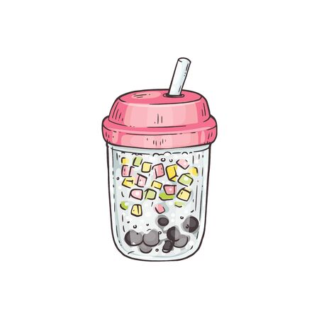 Bubble tea with tubule and tapiola in glass jar, sketch vector illustration isolated on white background. Tea, juice and milk mixed drink for menu and party invitations.