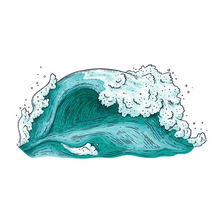 Hand drawn blue water wave isolated on white background - big wave splash of sea or ocean water with teal blue color. Strong nature tide - vector illustration. Illustration