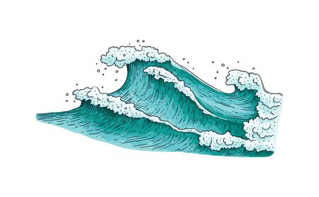 Stormy sea water wave drawing isolated on white background - teal blue ocean waves in hand drawn sketch style. Nautical nature - flat vector illustration.