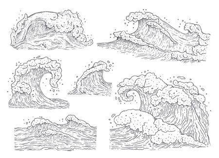 Sea water waves - black and white hand drawn set isolated on white background. Coloring book style stormy ocean surge collection - line art vector illustration. Illustration