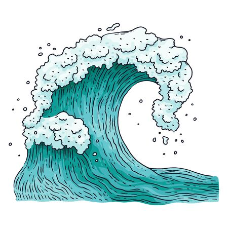 Detailed ocean or sea water wave cartoon vector illustration in vintage japanese engraving style isolated on white background. Surfing wave or stormy sea element icon.