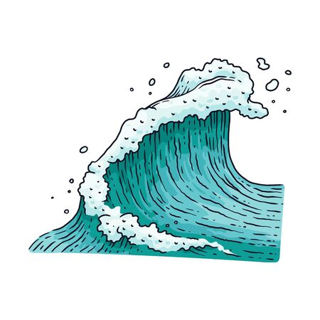 Ocean or sea water blue wave cartoon vector illustration isolated on white background. Surfing wave or stormy sea graphic element icon for cards and textile prints.