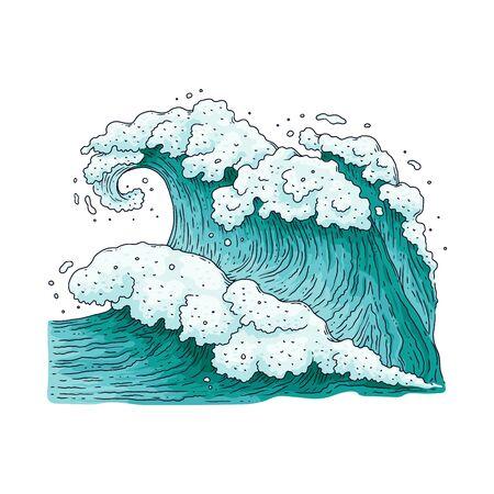Disegno dell'onda del mare grande e forte - spruzzi d'acqua dell'oceano blu verde acqua con schiuma bianca e trama fluente disegnata a mano. Natura del tempo tempestoso - illustrazione di vettore isolata piana.