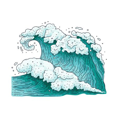 Big strong sea wave drawing - teal blue ocean water splash with white foam and hand drawn flowing texture. Stormy weather nature - flat isolated vector illustration.