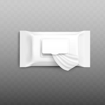 Verpackungsmodell für Feuchttücher mit offener Klappe, die ein einzelnes Serviettentuch zeigt. Realistische leere Verpackungsvorlage für Make-up zum Entfernen von Geweben - isolierte Vektorillustration.