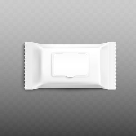 Mockup of white wet wipes blank package vector illustration isolated on transparent background. Antibacterial or cosmetic napkins packaging template presentation.