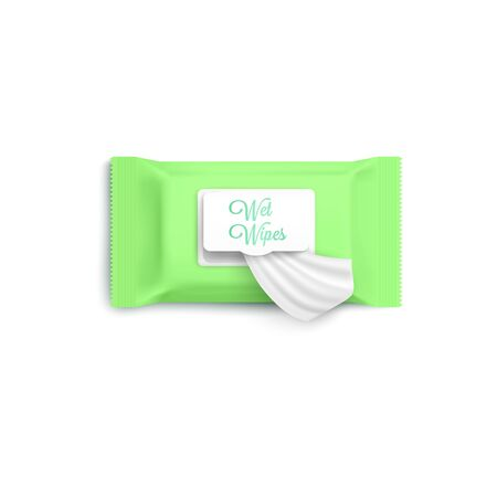 Mockup of light green wet wipes package with open flap, realisic vector illustration isolated on white background. Antibacterial or cosmetic napkins packaging template. Illusztráció