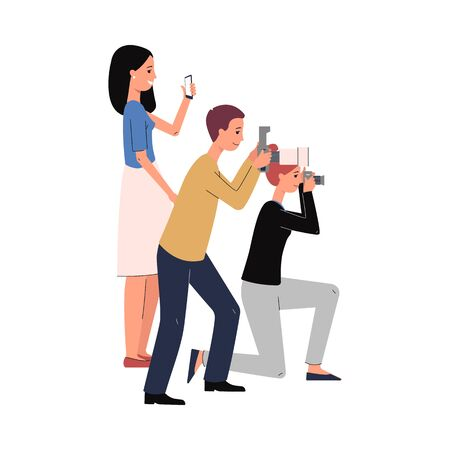 Cartoon paparazzi people taking pictures isolated on white background. Crowd of photographers holding cameras seen from side view - flat vector illustration.  イラスト・ベクター素材