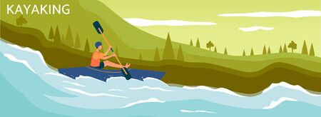 Banner or poster template for kayaking and rafting travel agency or summer camping. Boat and sportsman character on river landscape background, flat vector illustration. Stock Illustratie