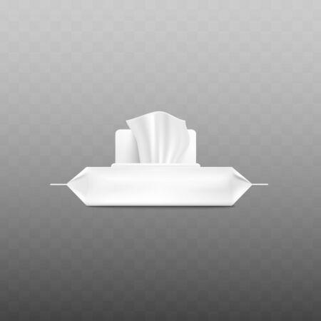 Confezione di salviettine umidificate bianche realistiche con lembo aperto e tessuto che esce visto dalla vista laterale isolata su sfondo trasparente - illustrazione vettoriale di sacchetto di plastica mockup