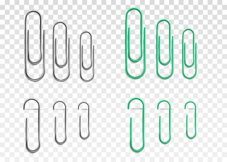 Realistic paperclip set in silver metal and green colors isolated on transparent background - big, medium and small size paper clips full and half hidden - vector illustration