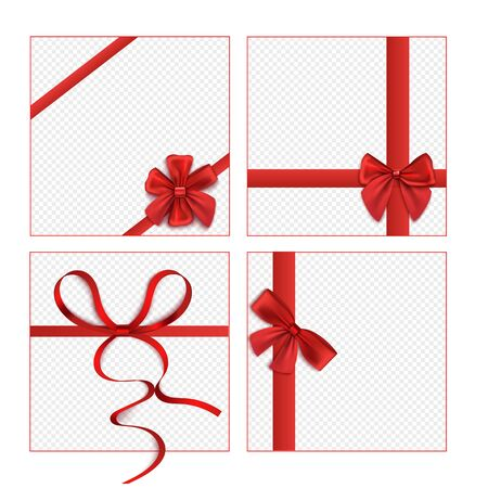 Isolated red ribbon bow set on blank square gift box mockups with transparent background - present box or wrapping paper design template - festive isolated vector illustration