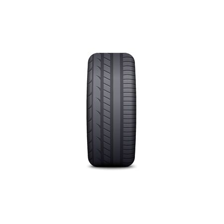 Black car tire with realistic tread pattern and rubber texture isolated on white background - side view of auto wheel rim protector standing sideways - vector illustration.